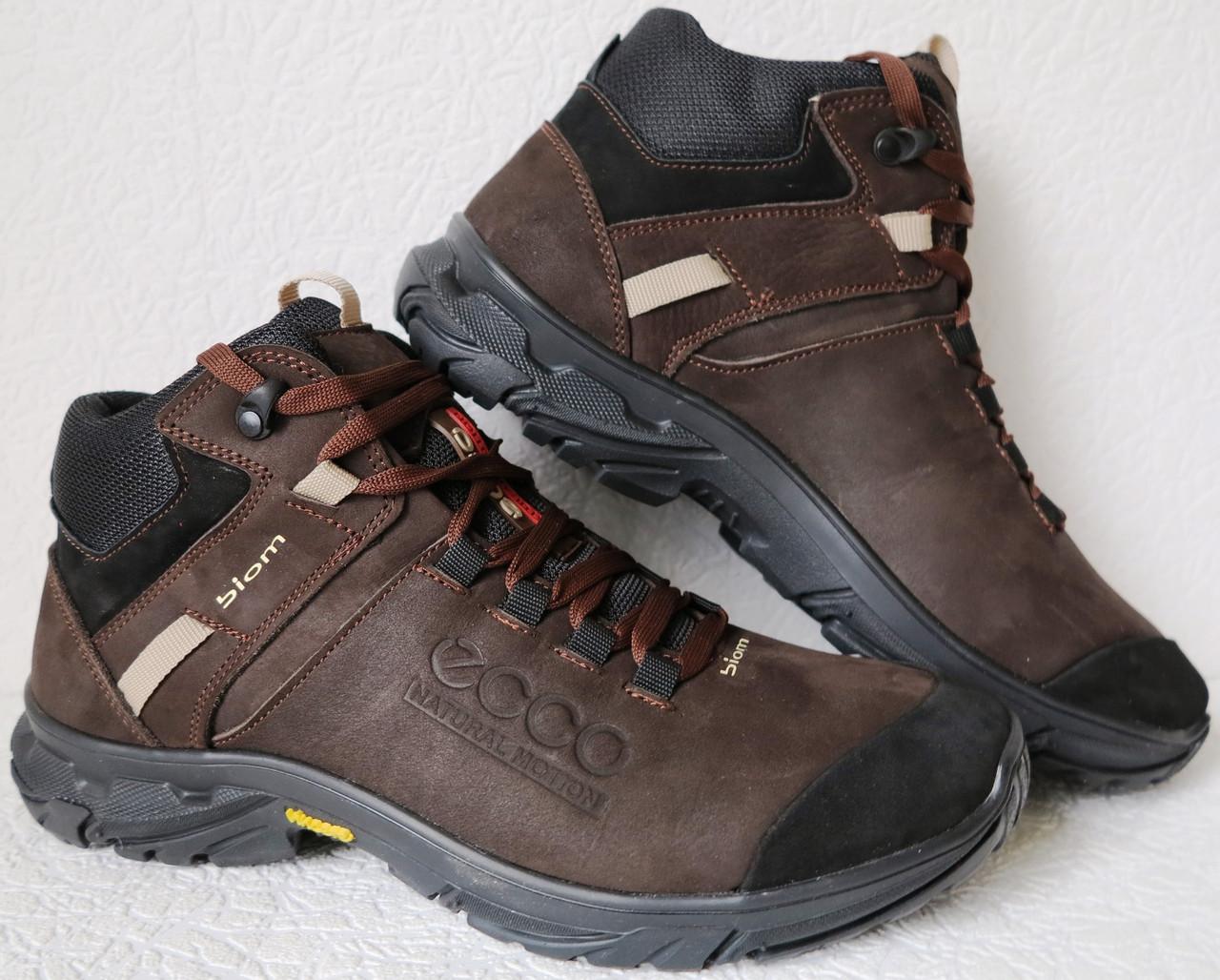 Экко зимние кожаные ботинки из кожи мех в стиле Ессо кроссовки коричневые