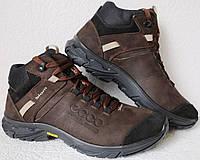 Экко зимние кожаные ботинки из кожи мех в стиле Ессо кроссовки коричневые, фото 1