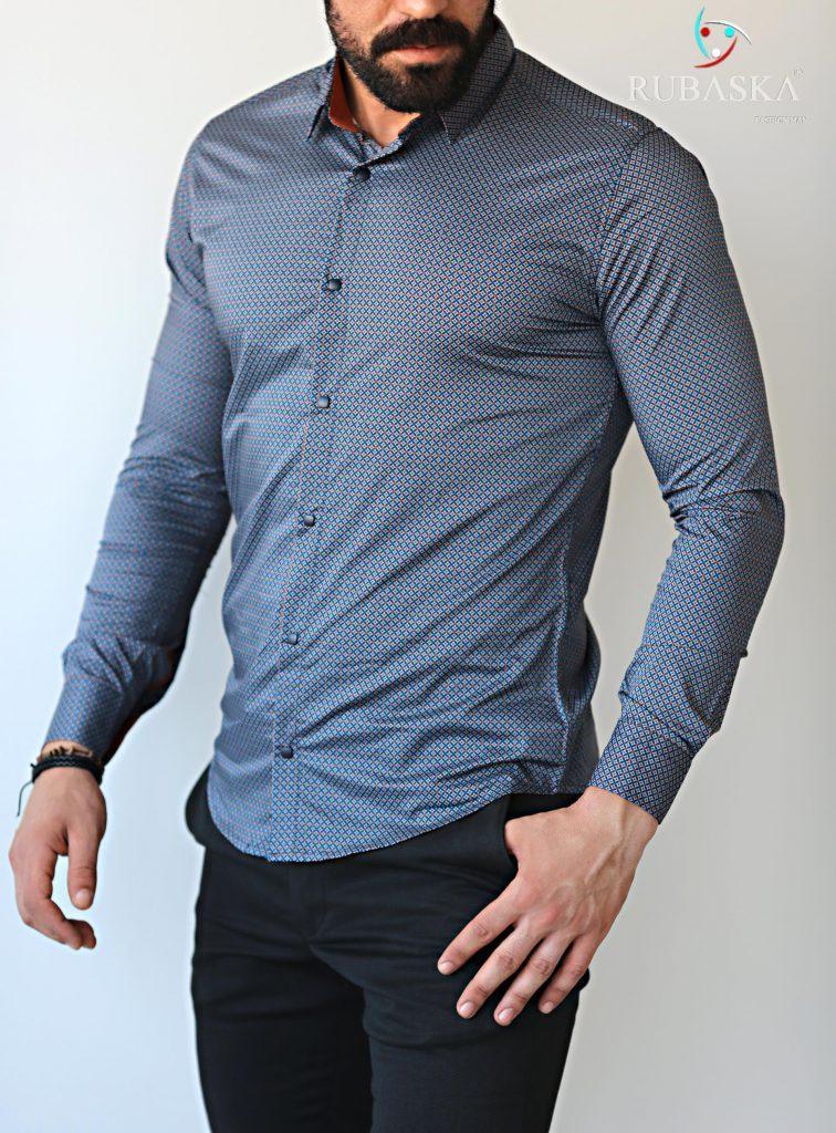 a48e8167eba Мужская серая рубашка с длинным рукавом - SPI-shop в Киеве