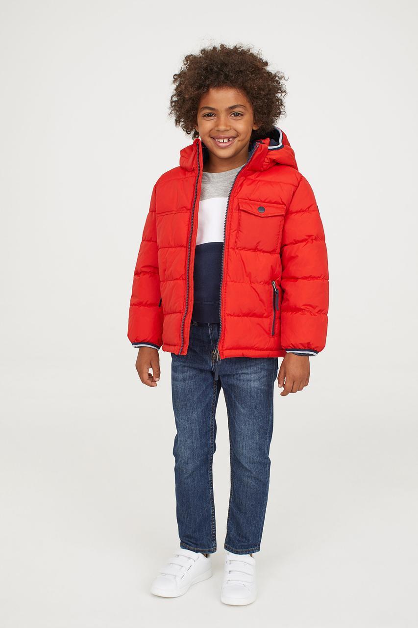 Демисезонная красная куртка для мальчика H&M Швеция Размер 128
