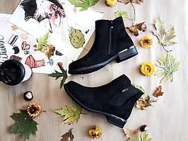 Ботинки челси Pamela женские черные замшевые на низком каблуке