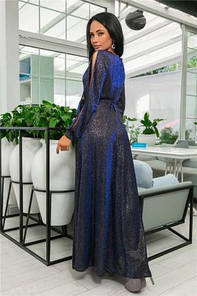 Женское Платье, цвет - Синий (141)702-2. (5 цветов) Ткань: турецкий люрекс (люрексовая нить ). Размеры : 44, 46, 48, 50, 52., фото 2