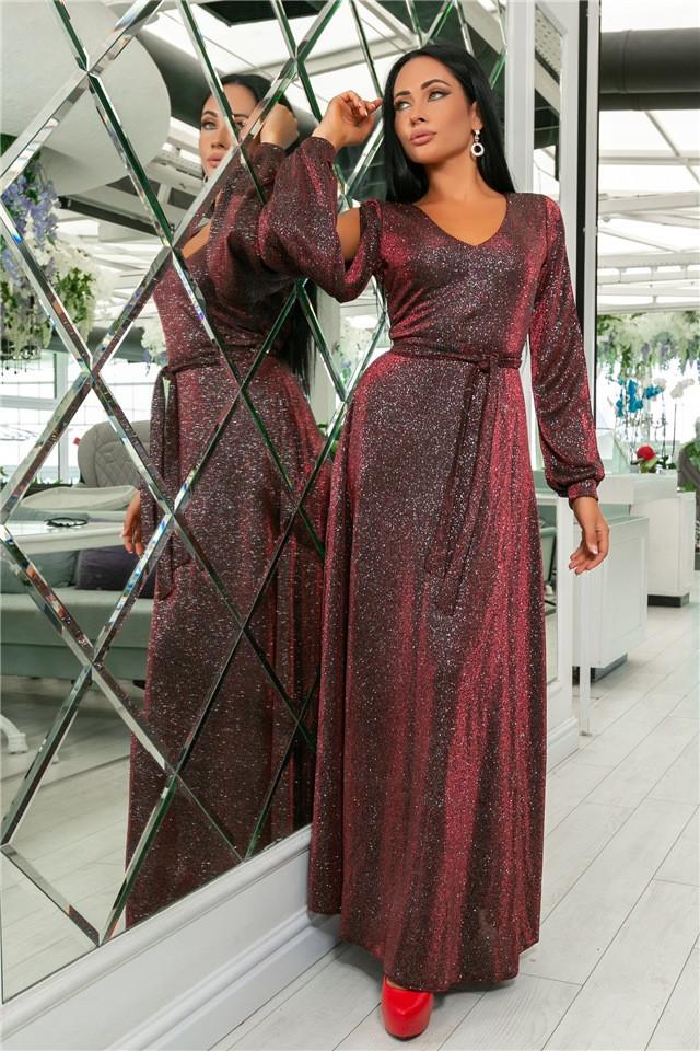Женское Платье, цвет - Бордо (141)702-3. (5 цветов) Ткань: турецкий люрекс (люрексовая нить ). Размеры : 44, 46, 48, 50, 52.