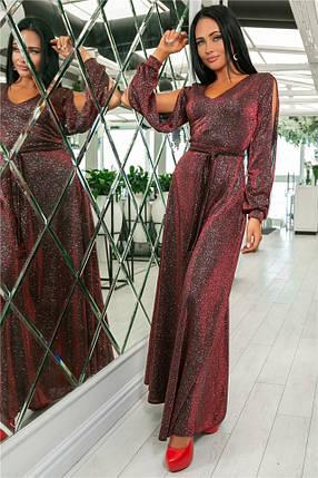 Женское Платье, цвет - Бордо (141)702-3. (5 цветов) Ткань: турецкий люрекс (люрексовая нить ). Размеры : 44, 46, 48, 50, 52., фото 2