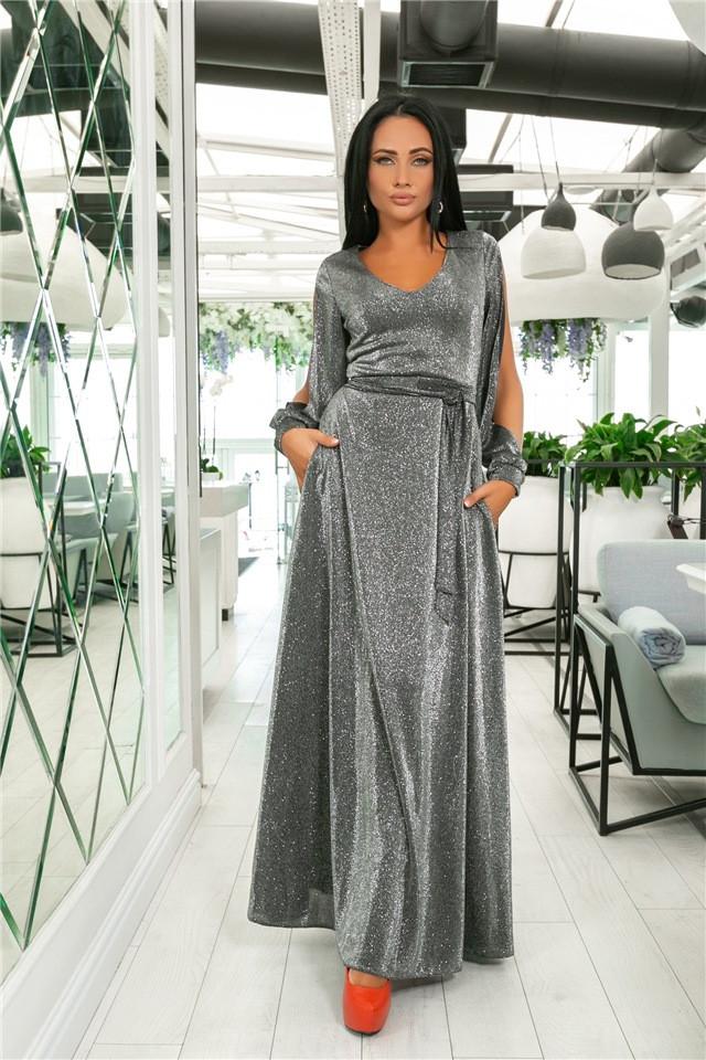 Женское Платье, цвет - Серебро (141)702-4. (5 цветов) Ткань: турецкий люрекс (люрексовая нить ). Размеры : 44, 46, 48, 50, 52.