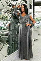 Женское Платье, цвет - Серебро (141)702-4. (5 цветов) Ткань: турецкий люрекс (люрексовая нить ). Размеры : 44, 46, 48, 50, 52., фото 3