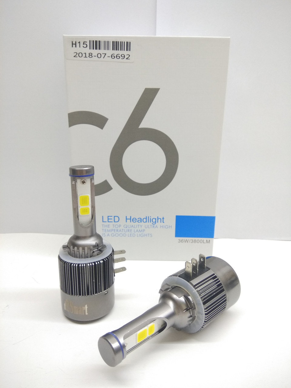 Светодиодные автолампы лед С6  COB, H15, дальний и ДХО, 7600 Люмен, 6500K, 72Вт, 12В