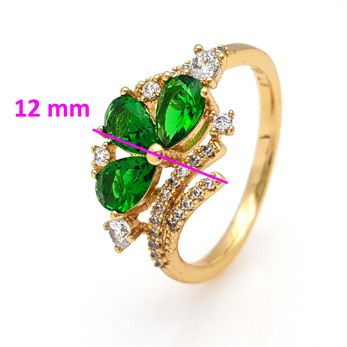 Кольцо Трилистник, с зеленым цирконием, р.17, р.18, р.18,5, позолота