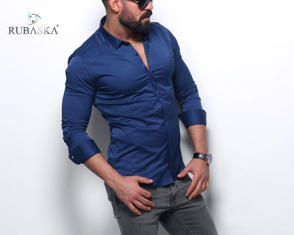 Мужская синяя рубашка с длинным рукавом