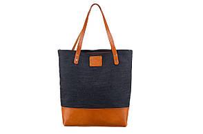Сумка универсальная комбинированная из натуральной кожи и ткани деним «Shopper bag»