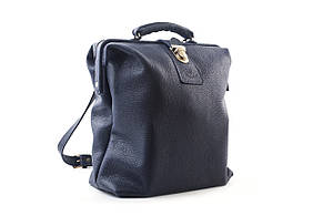 Кожаный рюкзак «City». Темно-синий флотар