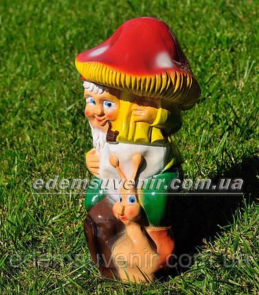 Садова фігура Гном з грибом малий, фото 2