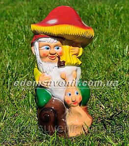 Садовая фигура Гном с грибом малый