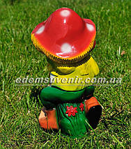 Садовая фигура Гном с грибом малый, фото 3