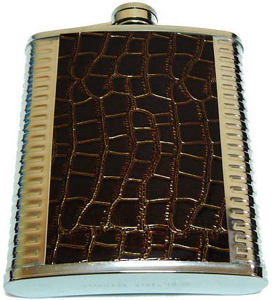 Фляга из пищевой нержавеющей стали обтянута кожей GD18, фото 2