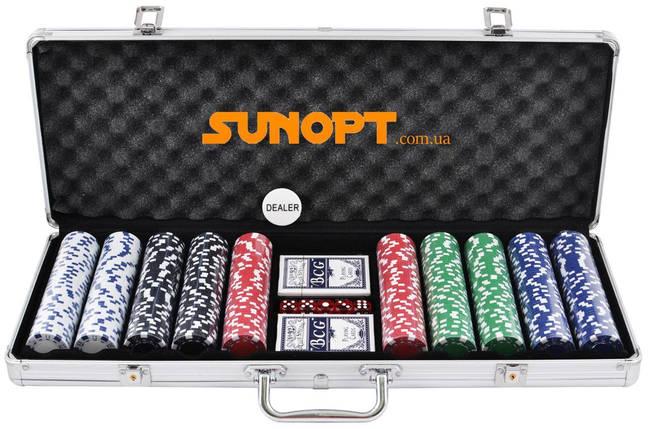 Покерный набор в алюминиевом кейсе на 500 фишек (62x21x8 см) №500, фото 2