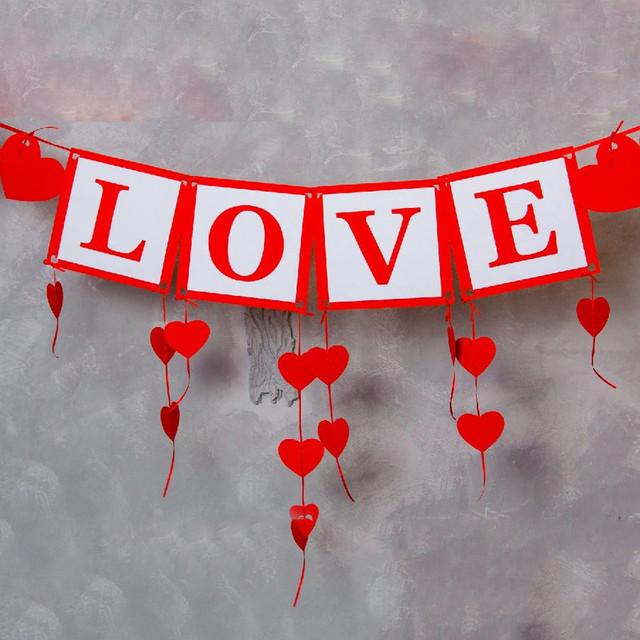 Гирлянда Bonita LOVE с сердечками красная 250 см