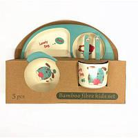 Набор детской бамбуковой посуды Eco Bamboo fibre kids set  5 предметов N02331 Blue