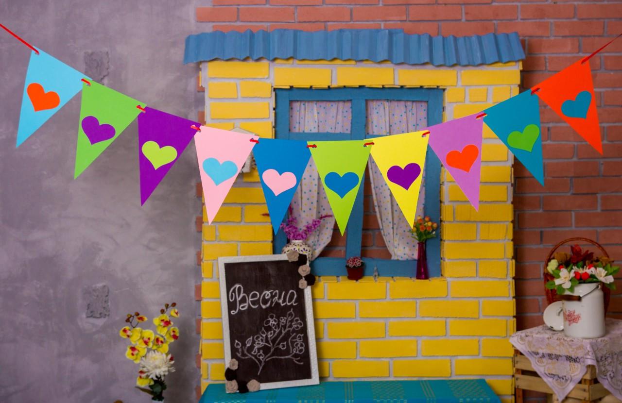 Гирлянда Bonita Флажки с сердечками разноцветная  250 см