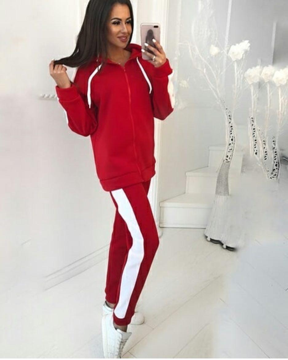 f2dfb010b48c Модный спортивный женский костюм, красного цвета - Интернет-магазин одежды  и обуви от производителя