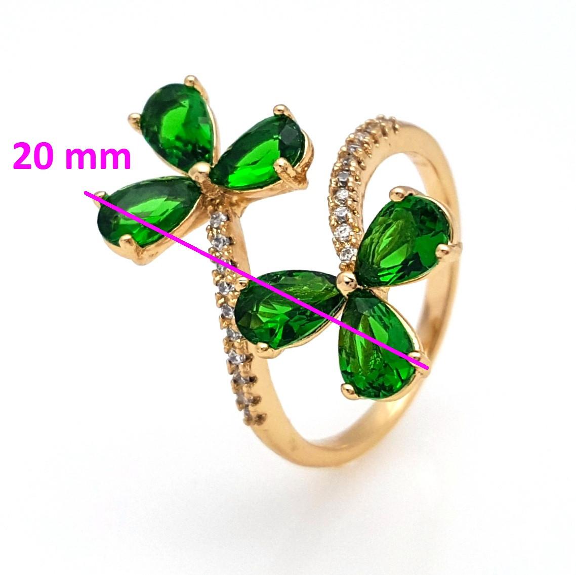 Кольцо Два Цветка, с зеленым цирконием, р.16,5-18, позолота