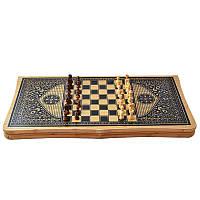 Игровой набор 3в1 нарды шахматы и шашки (62х62 см) В6535