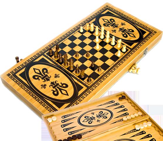 Ігровий набір 3в1 нарди і шахи та шашки (49х49 см) В6030С