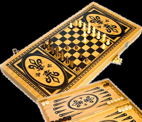 Ігровий набір 3в1 нарди і шахи та шашки (49х49 см) В6030С, фото 2