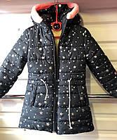 """Детская зимняя куртка  """"Звездочка"""" на девочку 4-7 лет, темно-синяя, фото 1"""