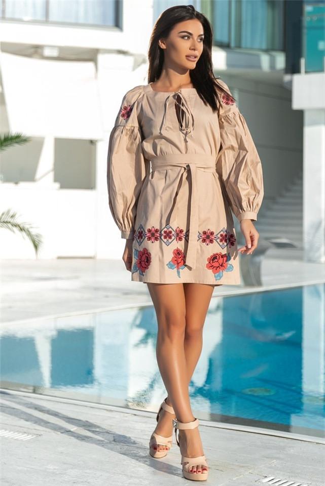 Женское Платье, цвет Бежевый (141)677. Ткань: коттон + термо фотопечать. Размеры: 42-44, 50-52.