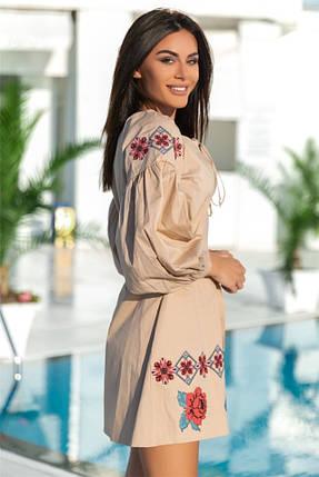 Женское Платье, цвет Бежевый (141)677. Ткань: коттон + термо фотопечать. Размеры: 42-44, 50-52., фото 2