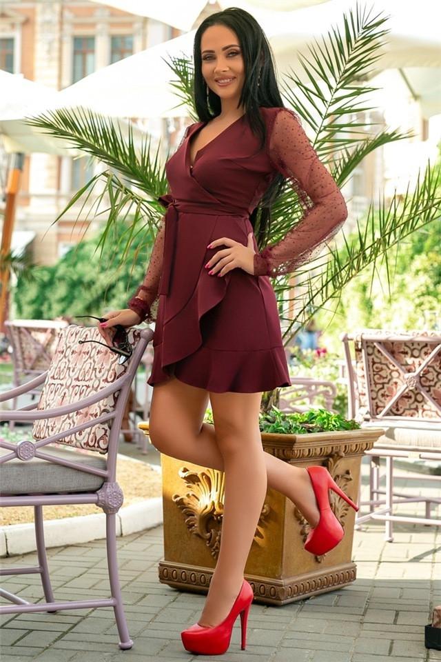 Женское Платье, цвет Марсал (141)688-1. (4 цвета) Ткань: креп + сетка со стразами. Размеры: 50, 52.