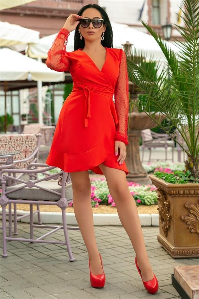Женское Платье, цвет Красный (141)688-2. (4 цвета) Ткань: креп + сетка со стразами. Размеры: 50, 52.