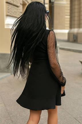 Женское Платье, цвет Чёрный (141)688-3. (4 цвета) Ткань: креп + сетка со стразами. Размеры: 50, 52., фото 2