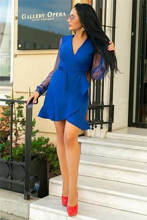 Женское Платье, цвет Электрик (141)688-4. (4 цвета) Ткань: креп + сетка со стразами. Размеры: 50, 52., фото 2