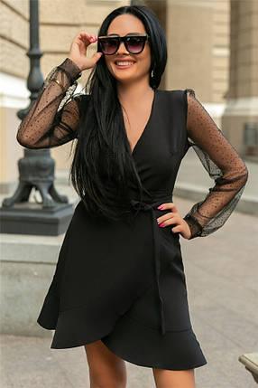 Женское Платье (141)688. (4 цвета) Ткань: креп + сетка со стразами. Размеры: 50, 52., фото 2