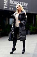 Женское длинное пальто-пуховик на силиконе, размер 44-50, цвет черный
