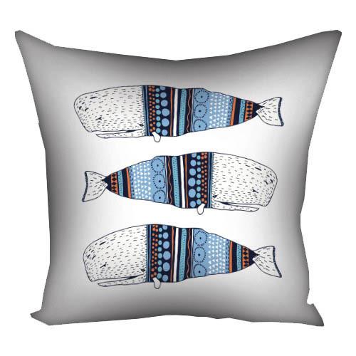 Подушка с принтом Киты белая (3P_17NG061)