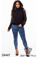 Нарядная шифоновая блуза свободного кроя гипюр рукава прямой поставщик Одесса большой размер 48-54