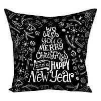 Подушка з принтом Happy New Year чорна (3P_17NG064)