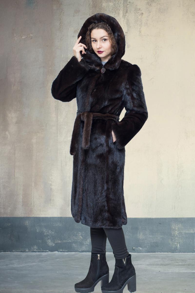 Шуба норковая Oscar Fur   423 Темно- коричневая