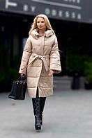 Женское длинное пальто-пуховик на силиконе, размер 44-50, цвет бежевый