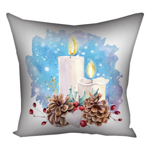 Подушка с принтом Рождественские свечи (3P_17NG068)
