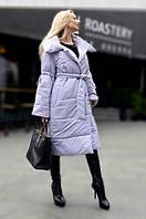 Женское длинное пальто-пуховик на силиконе, размер 44-50, цвет серый