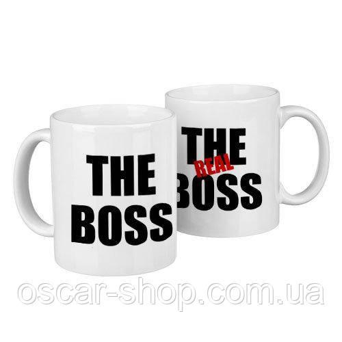 Чашки парні The real boss / чашки на подарунок / набір чашок 330 мл
