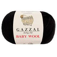 Пряжа из кашемира Gazzal Baby wool 803 черный (Газзал Беби вул)
