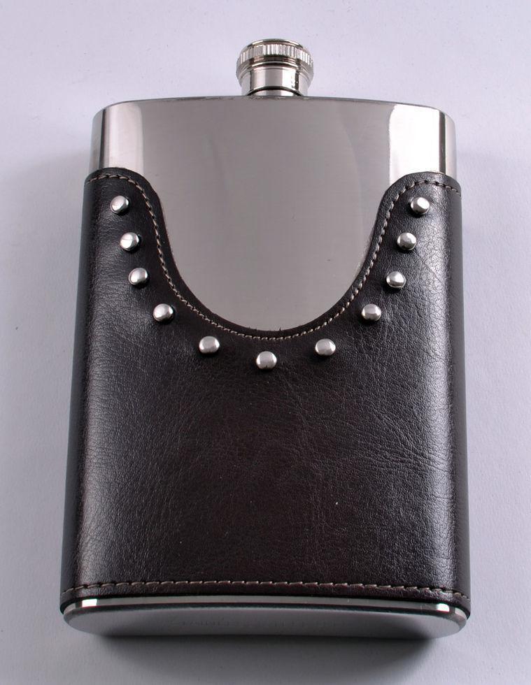 Фляга з неіржавіючої сталі обтягнута шкірою №LG-9-4