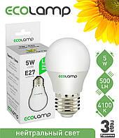 LED лампа 5 Вт, E27 холодный свет