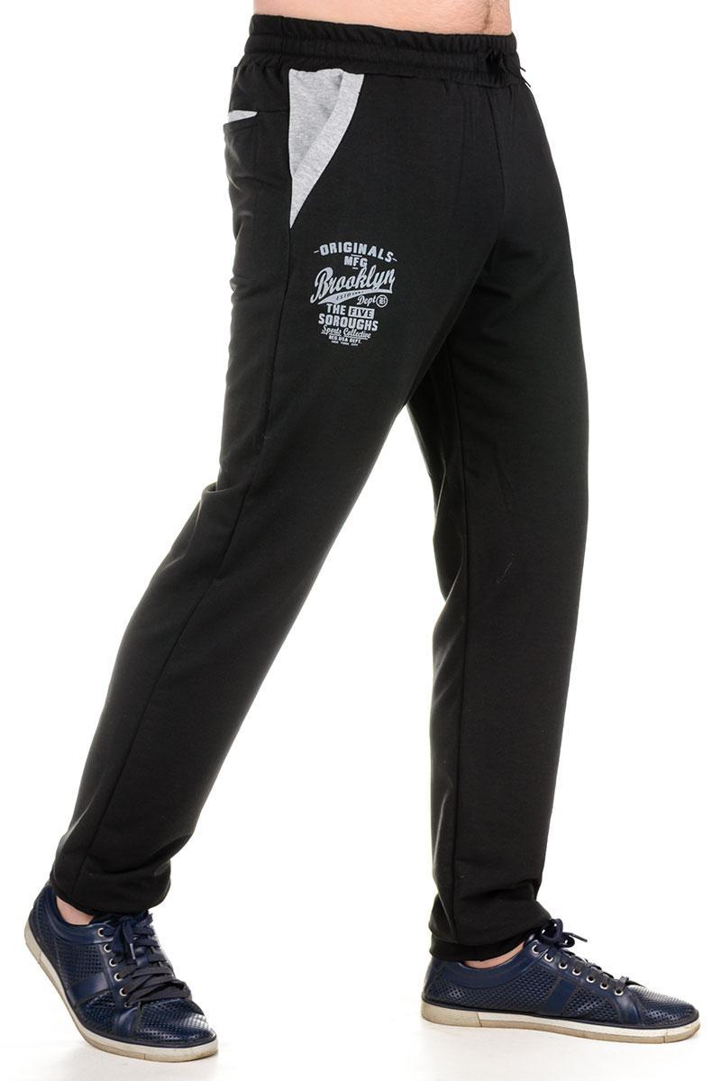 09eafcb9 Спортивные штаны мужские трикотажные черные брюки на резинке внизу (манжет)  Бруклин - Интернет магазин