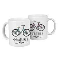 Чашки парные Handsome, beautiful  / чашки на подарок / набор чашек 330 мл